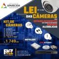 Kit Câmaras  - 04 câmeras filmagem em HD,  01 DVH HD com entrada de 04 canais  01 fonte 12V 5A  08 conector BNC Mola  04 plugs P4 Borne  01 HD de 3 Terabytes