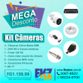 Kit Câmaras Citrox  - 04 câmeras filmagem,  01 DVH HD com entrada de 04 canais  01 fonte 12V 5A  08 conector BNC Mola  04 plugs P4 Borne  01 HD de 1 Terabytes